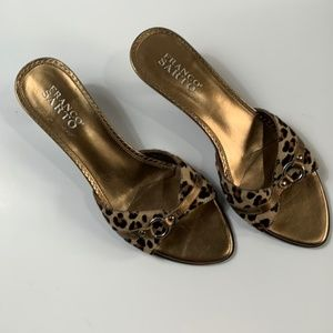 Franco Sarto Cheetah Print Fur Slip On Heels